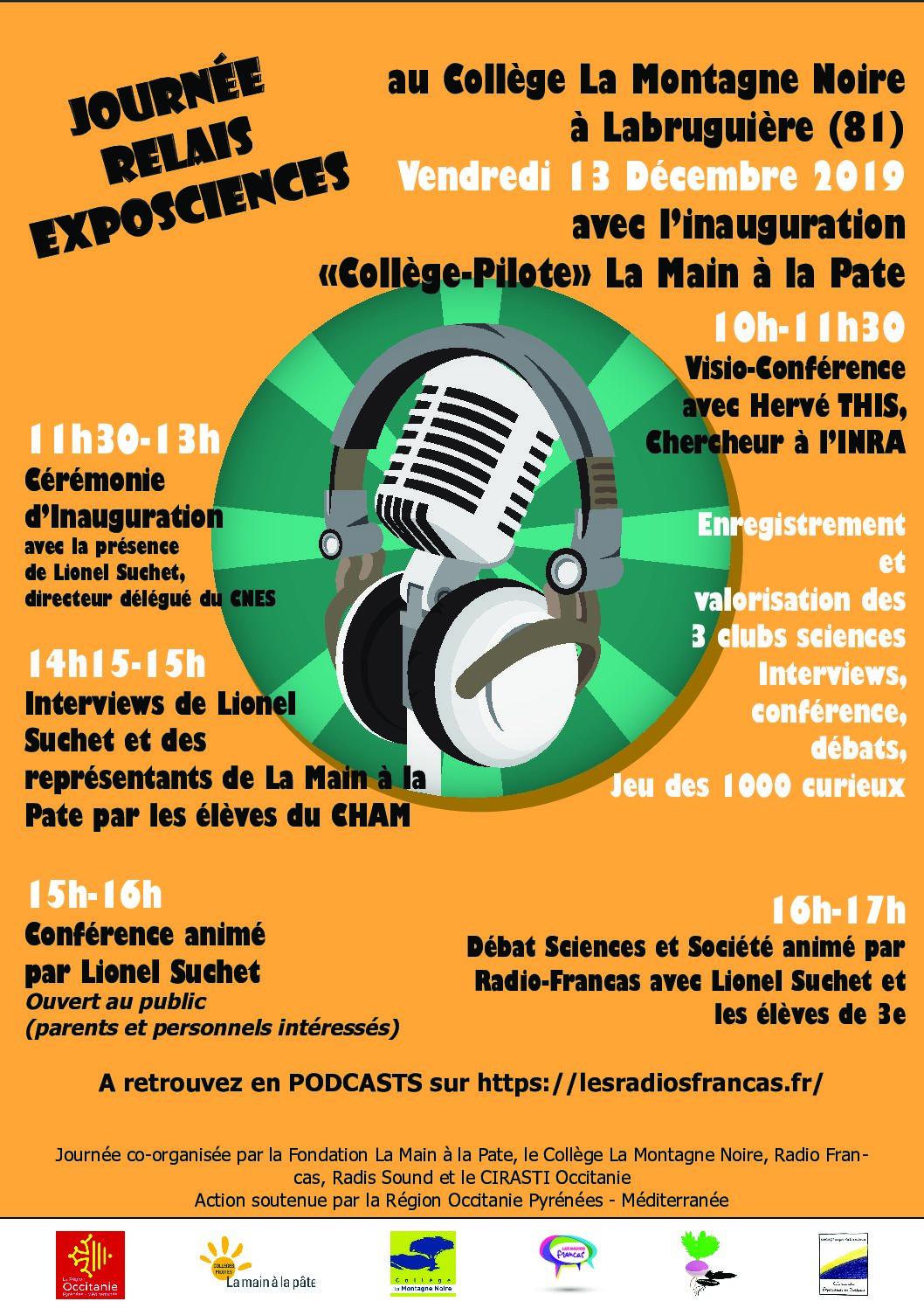 Journée Relais Exposcience et Inauguration Collège-Pilote LAMAP – 13/12/19 à Labruguière (81)